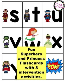 RTI Interactive Interventions Lowercase Letters (Superheroes/Princess)