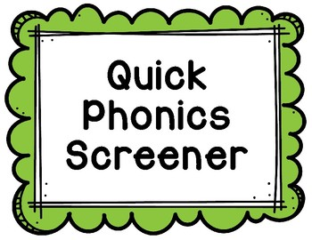 RTI Intervention Data Phonics Screener