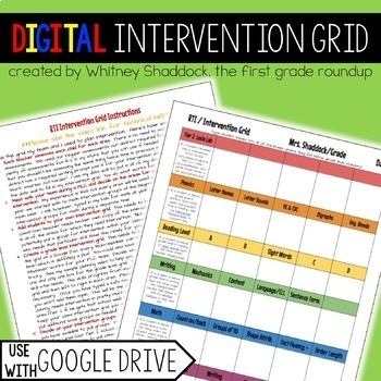 RTI Intervention Organization Tool on Google Drive