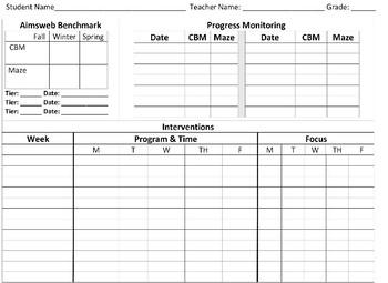 RTI Intervention Record Sheet