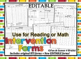 EDITABLE!! RTI Intervention Record Sheet Use for math, phonics, reading, etc...