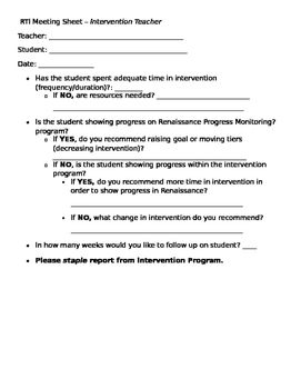 RTI Intervention Teacher Documentation Sheet