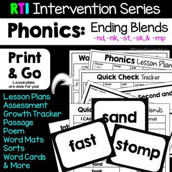 RTI Interventions Phonics Ending Blends