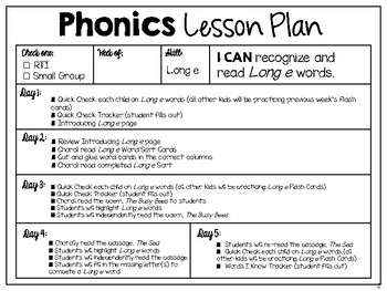 RTI Interventions | Phonics | Long e
