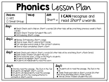 RTI Interventions | Phonics | Short u