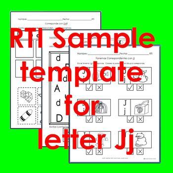 "RTI Jj ""fonema"" correspondiente activities set of 3"