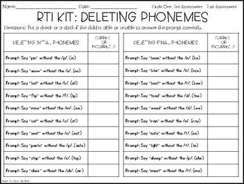 RTI Kit: Deleting Phonemes