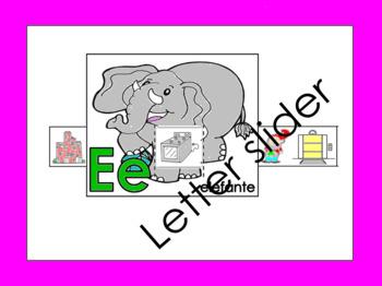 RTI Letter Ee slider: Ee elefante in Spanish