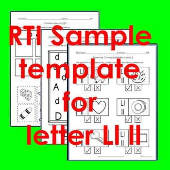 "RTI Ll ll ""fonema"" correspondiente activities set of 3"