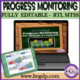 RTI, MTSS, Progress Monitoring FULLY EDITABLE GRAPHS - Teletherapy