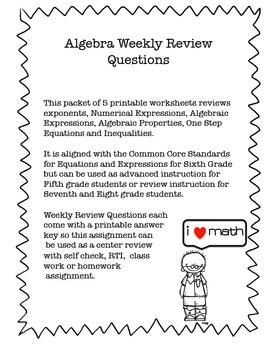 RTI Math:  Algebra- Expressions, Equations, Inequalities Worksheets