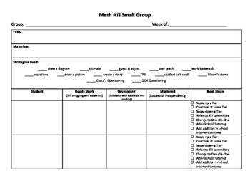 RTI Math Small Groups Form