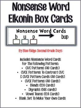RTI Nonsense Word Elkonin Cards Bundle-CVC,CVCE, Blends, Digraphs, & Vowel Teams