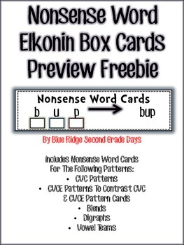 RTI Nonsense Word Elkonin Box Cards Preview Freebie