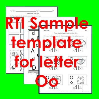 """RTI Oo """"fonema"""" correspondiente activities set of 3"""