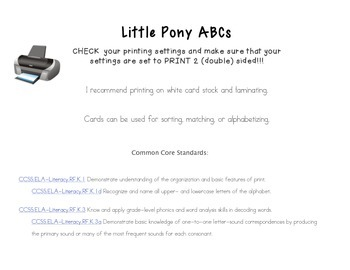 RTI Pony Alphabet Upper and Lowercase Letter Naming and Letter Sound Pack