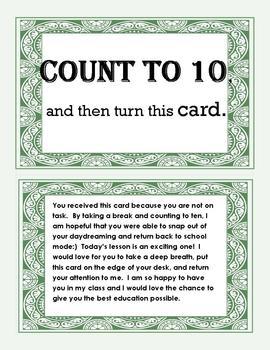 RTI - Positive Behavior Cards