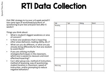 RTI Pre-Referral Speech and Language Materials