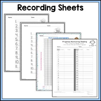 RtI Progress Monitoring; Short Vowels and Digraphs