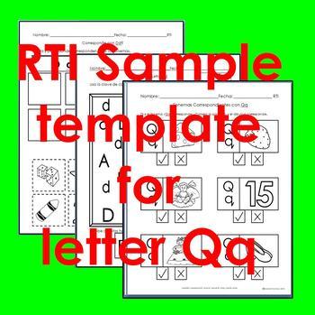 "RTI Qq ""fonema"" correspondiente activities set of 3"