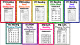 RTI Reading & Math Intervention Progress Monitoring BUNDLE