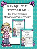Daily 5 Word Work Sight Word BUNDLE Pre-Primer and Primer over 90 pages