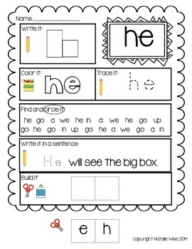 Daily 5 Word Work Daily Sight Word Practice Pages Primer