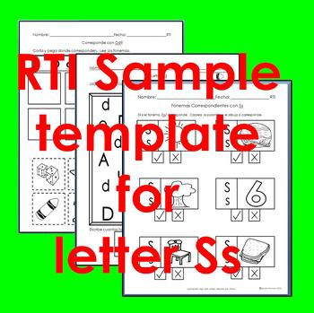 "RTI Ss ""fonema"" correspondiente activities set of 3"