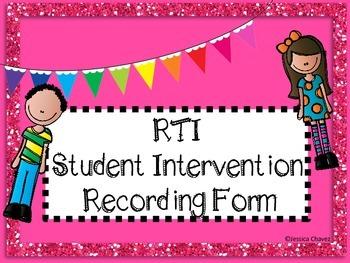 RTI Student Intervention Recording Form