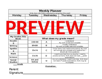 rti student weekly planner grade tracker