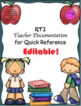RTI Teacher Documentation Data Tracking-Editable