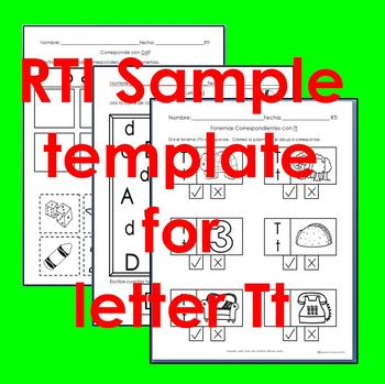 "RTI Tt ""fonema"" correspondiente activities set of 3"
