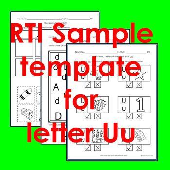 "RTI Uu ""fonema"" correspondiente activities set of 3"
