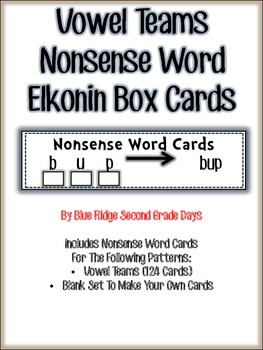 RTI Vowel Team Nonsense Word Elkonin Box Cards