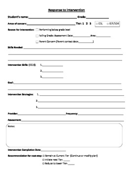 RTI Worksheets