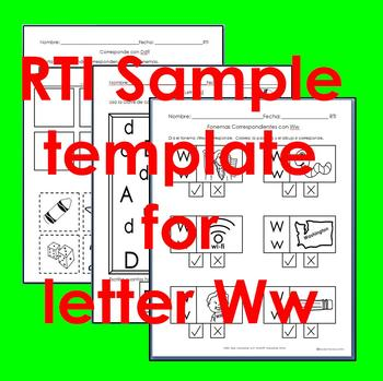 "RTI Ww ""fonema"" correspondiente activities set of 3"