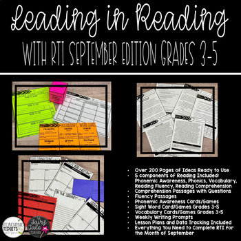 RTI For ELA Response To Intervention Small Group Reading Activities RTI