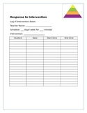 RTI intervention log SBLC chart
