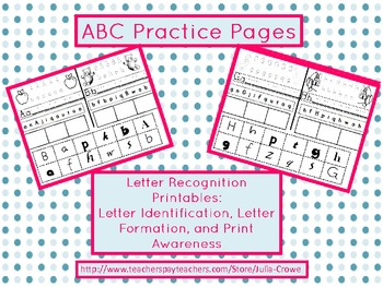 RTI or Literacy Center Activity for Letter Identification