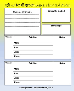 rti or small group lesson plans template by jennie howard. Black Bedroom Furniture Sets. Home Design Ideas