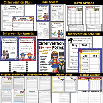 Intervention forms for RTI and IEP with binder covers the Bundle: Super Hero