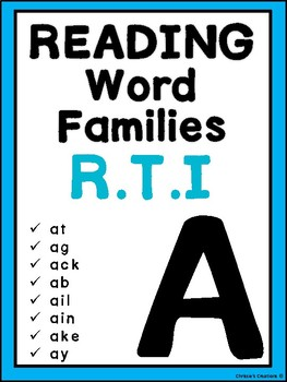 Phonics Word Families reading Intervention: 'A'  Great for