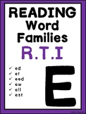 Phonics Word Families reading Intervention: 'E'  Great for RTI and IEP goals