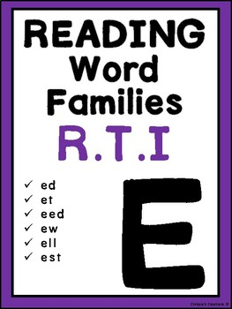 Phonics Word Families reading Intervention: 'E'  Great for