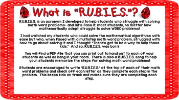RUBIES Math Word Problem Solving Strategy