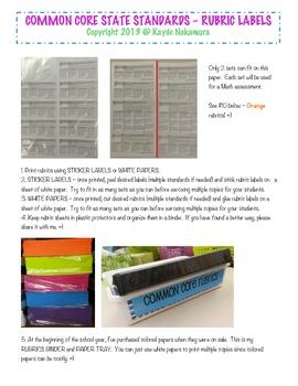RUBRIC LABELS - Common Core ELA Grade 4 (Grade 1-5 Available)