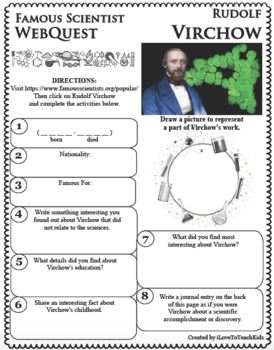 RUDOLF VIRCHOW - WebQuest in Science - Famous Scientist - Differentiated