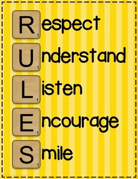 RULES Acronym Poster {Sunshine Yellow Stripe}