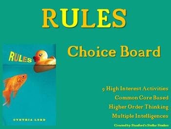 RULES Choice Board Tic Tac Toe Novel Activities Menu Assessment Book Project