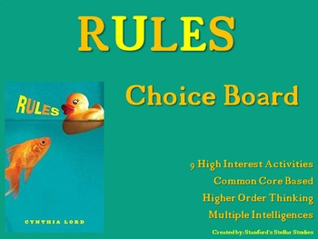 RULES Choice Board Tic Tac Toe Novel Activities Assessment